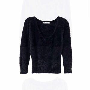 ZARA Black Kitten Fuzzy Scoop Neck Sweater